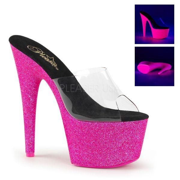 Durchsichtige Pantolette mit UV-Glitter Plateau in neon hot pink ADORE-701UVG